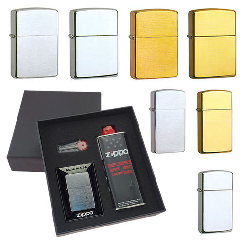 Zippo Chrom & Messing & Slim inklusive Diamantgravur und Design-Geschenke-Box